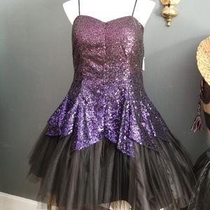 Beautiful Sequin Purple Ombre Party Dress